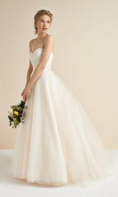 Monique Lhuillier Blush Tulle & Chantilly Lace Dress