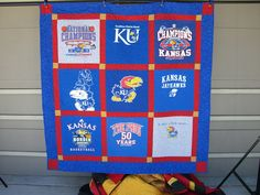 University of Kansas Jayhawks TShirt Quilt by QuiltWorksMemoryQlts, $175.00