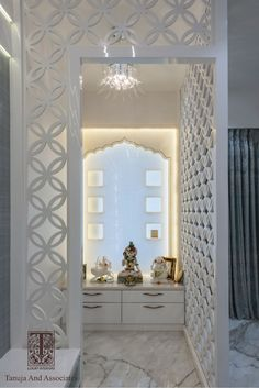 Tanuja & Associates - Top Luxury Interior Designer firm in Mumbai with 22 years of experience. It is the only Indian company nominated twice for The International Design & Architecture Awards held at London. Living Room Partition Design, Pooja Room Door Design, Room Partition Designs, Home Room Design, House Design, Design Bedroom, Luxury Interior, Interior Design, Lobby Interior