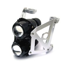 It consists of two powerful 55W projector single beam lights; the top light being low beam and the bottom light is high beam. The universal mounting bracket is made from aluminium and has four fork brackets which simply clamp to your motorcycles forks. | eBay!
