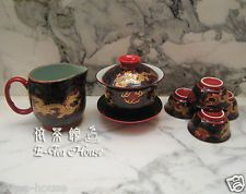 Traditional Chinese Red & Gold Dragon Gaiwan, Water Jug & Cups