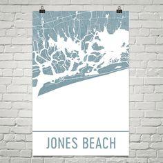Jones Beach Map, Jones Beach Art, Jones Beach Print, Jones Beach NY Poster, Jones Beach Wall Art, Jones Beach Gift, Map of Jones Beach, Art
