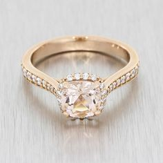 Rose Gold And Morganite Halo Ring #bespokeengagementring