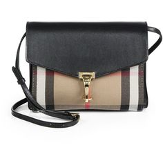 Burberry Macken Small House Check & Leather Crossbody Bag (€1.030) ❤ liked on Polyvore featuring bags, handbags, shoulder bags, burberry, purses, apparel & accessories, black, leather crossbody handbags, leather crossbody purse and burberry crossbody