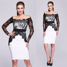 $29.99 Stylish Women Lady's Black Lace Bodycon Off-shoulder Dress