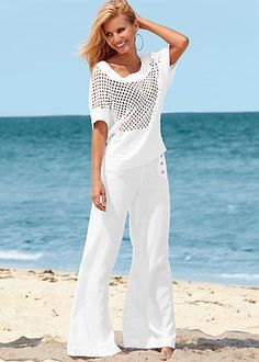 White knit sweater and linen pant