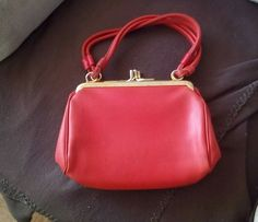 vintage handbag make Harmony made in England. Red leather. 1950s. 2 x clip opens | eBay