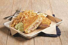 Hot Ham and Cheese Grilled Cheese - Parmesan crusted sourdough with ham, Havarti cheese and alfredo sauce. With Dijon mustard for dipping. Grilled Ham And Cheese, Havarti Cheese, Lunch Specials, Parmesan Crusted, Lunch Menu, Alfredo Sauce, Deep Dish, Mustard, Sandwiches