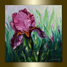 Modern Flower Iris Painting Oil on Canvas Textured Palette Knife Contemporary Floral Original Art Irises 16X16 by Willson Lau