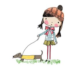 buttercup and dot - Nikki Upsher: Children's Book Illustration, Character Illustration, Cat Character, Character Design, Watercolor Deer, Dachshund Love, Daschund, Wow Art, Girl And Dog