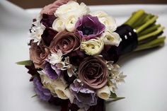 plum, dusty lavender, and ivory wedding bridal bouquet