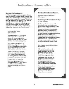 """DEAD POETS SOCIETY"" movie supplement with poems, quotes, worksheets, discussion questions, quiz Teaching Activities, Teaching Ideas, Dead Poets Society Movie, Teacher Resources, Teachers Toolbox, Secondary Teacher, Middle School English, English Classroom, Teaching English"