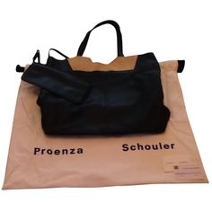Pre-owned Proenza Schouler Black Tote Bag ($450) ❤ liked on Polyvore featuring bags, handbags, tote bags, black, black tote, genuine leather purse, genuine leather tote and tote