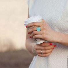 Кольца ручной работы. Ярмарка Мастеров - ручная работа. Купить Серебряное кольцо с халцедоном - 18 мм. Handmade. Мятный, аквахалцедон