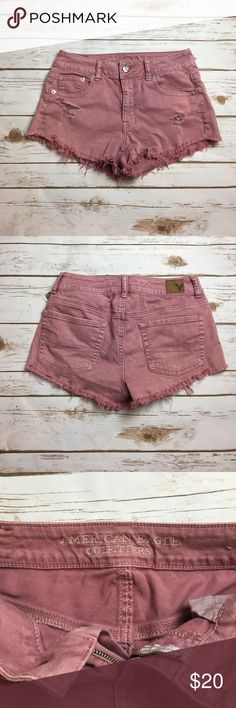 American eagle frayed bottom blush shorts These American eagle outfitters shorts of made of the stretchy material and are a super fun blush color. They're a mid rise, not high waisted and have some rips: frayed bottoms for a super trendy look! I ❤️ offers! American Eagle Outfitters Shorts