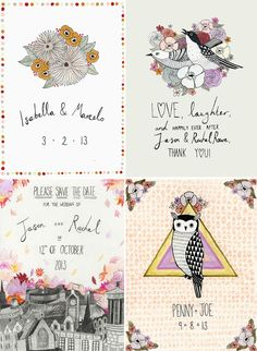 top right...save the date??  Illustrated Invites by Katy Smail
