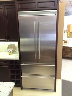 "Liebherr French Door with double freezer below.  Uses two separate compressors.  80"" Tall"