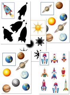 Дидактические игры для детей на тему Космос - Найди тень и Найди пару