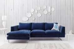 Showcased Here In Luxurious Airforce Blue Velvet Fabric. #interior #design # Contemporary #modern #sofa #furniture #home
