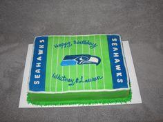 Seahawks Football themed birthday cake