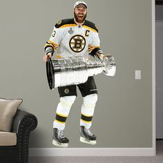 Zdeno Chára - Stanley Cup REAL.BIG. Decals – Peel & Stick Wall Graphic | Boston Bruins Wall Decal | Sports Home Decor | Hockey Bedroom/Man Cave/Nursery