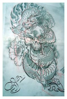 tattoo design skull with dragon by douglasdraco designs interfaces ...