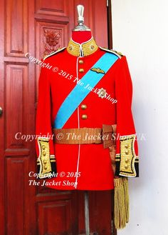 Prince William Royal Wedding Irish Guards Tunic  Irish Guards Officer's Colonel Dress Tunic, made with hand wire gilt embroidery cuffs, collar and vent with the finest Doeskin English wool Military grade fabric.   Includes anodised buttons & quilted lining. Brass or Gold Regimental buttons available.