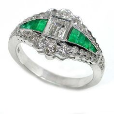 0.45ct Art Deco 18k White Gold Diamond Emerald Ring | New York Estate Jewelry | Israel Rose