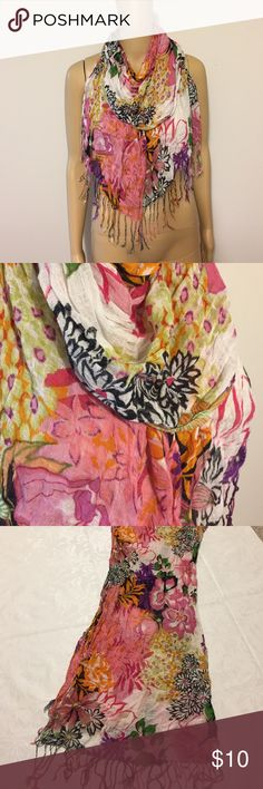 "Colorful floral scarf Colorful scarf, floral design, measures 68"" without fringe & 20"" across, no material or brand tags, good condition Accessories Scarves & Wraps"