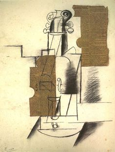 Picasso, Violin, fall 1912. (Note how the pasted newspaper fragment in the background is the reversed leftover of the newspaper piece denoting the body of the violin.)