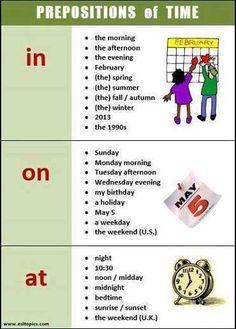 simple exercises related to the prepositions of time - einfache Übung um Bezug auf Präpostitionen der Zeit