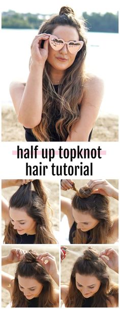 Probieren Sie dieses Half-Up TopKnot-Haar-Tutorial aus # Night Out Hairstyles, Sleep Hairstyles, Classic Hairstyles, Curled Hairstyles, Trendy Hairstyles, Weave Hairstyles, Straight Hairstyles, Hairstyles Haircuts, Wedding Hairstyles