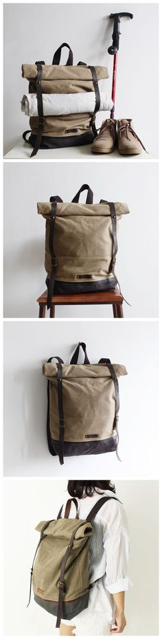Handcrafted Waxed Canvas Travel Backpack Hiking Waterproof Rucksack School Backpack 14116