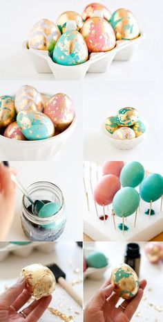 Golden Marbled  Easter Eggs DIY  :)  you could just die it a light color,pale.. and gold splater paint