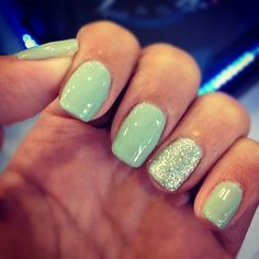 Beauty Inspirations | Mint + glitter nails | Via: http://beautifulszewan.tumblr.com/post/31230763092/nails-manicure-mani-gelish-gel