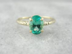 Art Nouveau Emerald Engagement Ring in Shades of by MSJewelers $2,215