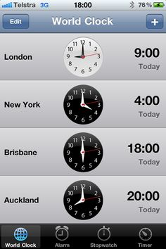 Day 8 | Six o'clock| Photo-a-day June   My world clocks on my iPhone... the usual (US & UK), plus NZ where my bestie lives (though her city isn't included!) and my hometown, Brisbane!