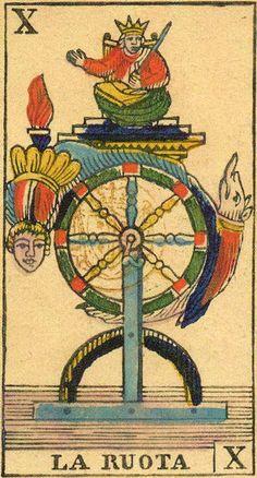 The Wheel (Wheel of Fortune) - Ancient Tarot of Liguria-Piedmont