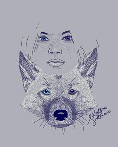 Natue is unigue🕊  Nature, wolf, portrait, blue lines, blue and brown eyes. Illustration by Krissmet
