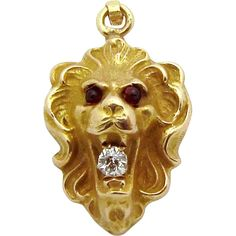 Antique 14K Gold Victorian Jeweled Lion Fob Charm w/Diamond from charmalier on Ruby Lane