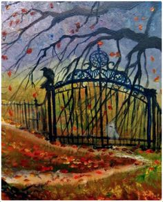 Trick or Treat Past the Old Gate Crow