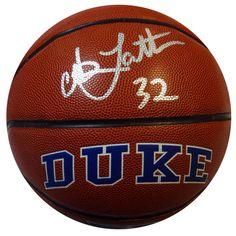 Christian Laettner Autographed Duke Blue Devils Logo Basketball JSA