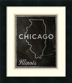 'Chicago, Illinois' by John W. Golden Framed Graphic Art