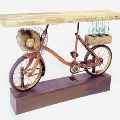 Vintage Bicycle Console Table With Salvaged Cypress Wood Top by Benjamin Bullins