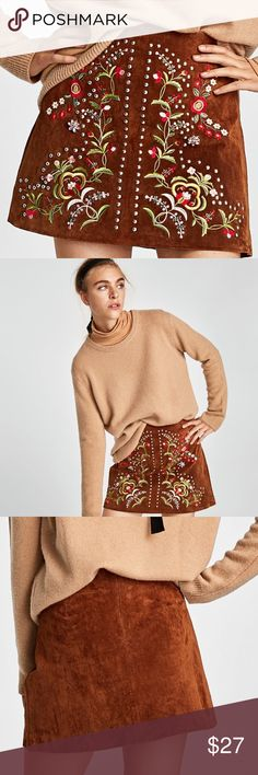 🆕  ZARA embroidered leather skirt. Material: Leather  Color: Camel New with tag. Zara Skirts Mini