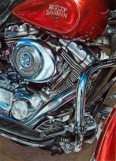 Red Harley Motorcycle Engine Drawing Colored Pencil | I Love Harley Bikes