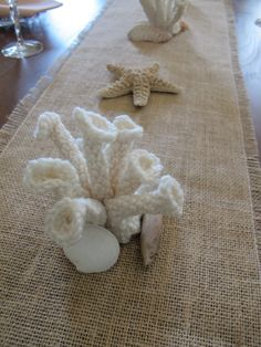 Tubular Sea Coral centerpieces: crocheted, off-white for beach theme weddings tablescape beach house  sea coral sculpture decor