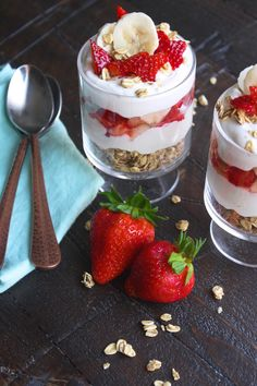 No Bake Strawberry-Banana Cheesecake Parfaits & That Strawberry Cake :) ~ http://www.southernplate.com | Recipes to ...