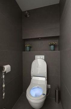 kleine toiletruimte inrichten - Google zoeken. Idee die achterwand