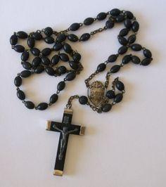 $14.00Vintage Rosary Ebony France Crucifix with Black Beads Catholic Prayer Beads
